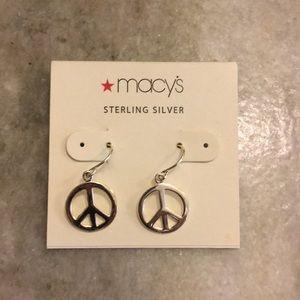 Sterling Silver Peace earrings, never worn